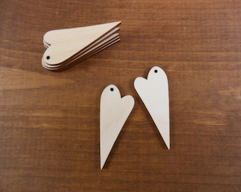 """Wood Heart Earrings Blanks 2"""" x 3/4"""" x 1/8"""" Laser Cut Wood Shapes Jewelry Shapes - 25 Pieces"""