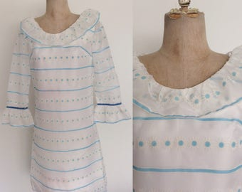1970's White Ruffle Blue Flocked Shift Dress Size Small by Maeberry Vintage