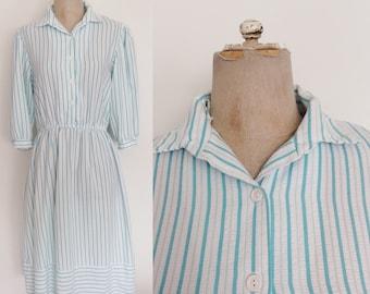 1980's Turquoise Blue & White Striped Cotton Shirtwaist Dress Size Small Medium by Maeberry Vintage