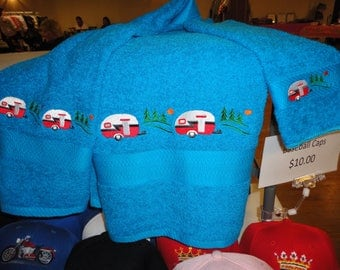Retro Trailers - Bath Towel, Hand Towel & Washcloth - Shown on Turquoise with Red Trailers