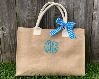 Monogram Burlap Bag - Personalized Tote - Burlap Beach Tote - Bridesmaid Bag