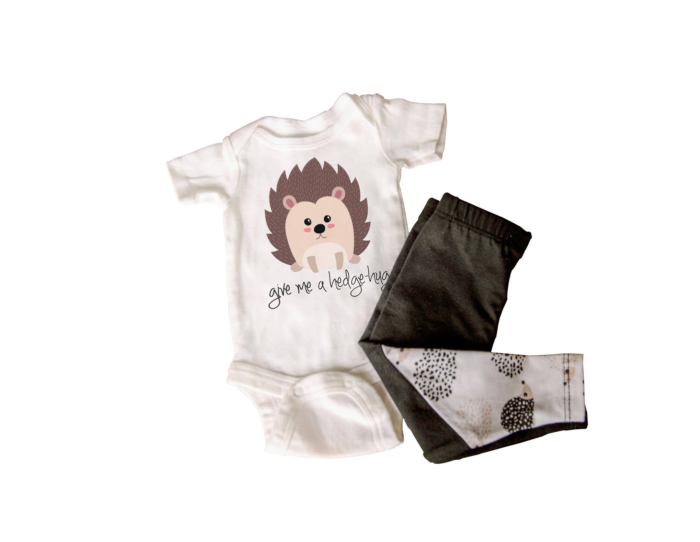 Gender neutral baby clothes animal hedgehog forest woodland