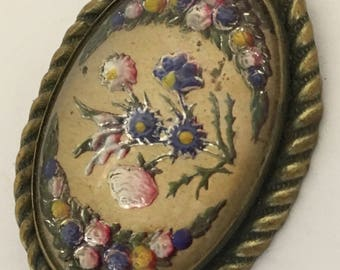 Vintage Painted Carved Intaglio Brooch Flowers Garlands C Clasp