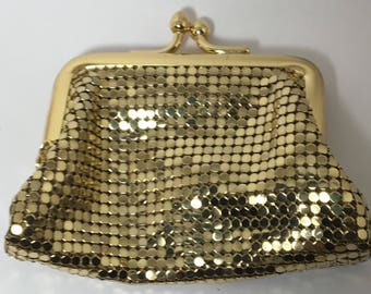 Vintage Whiting and Davis Mesh Change Purse Gold Color Chainmaille