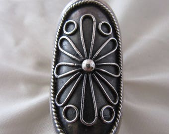 Large Oxidized Sterling Statement Ring