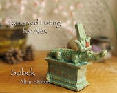 RESERVED LISTING for Alex - Sobek Altar Statue - Lord of the Waters - Handcrafted Ancient Egyptian Crocodile Statue and Carnelian Solar Disc