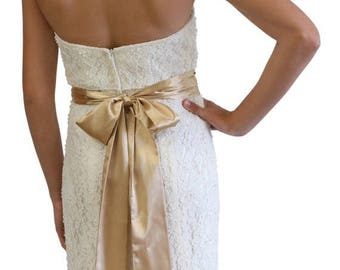 """Summer Sale Bridal Sash Belt made from, Gold, 3"""" Wide Double Faced High Quality Satin"""