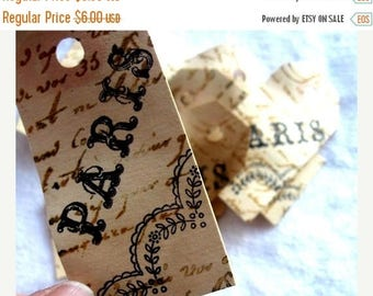 25 Stamped Cottage Chic PARIS Hang Tags -Stamped Embellished - Favors - Gift wrapping