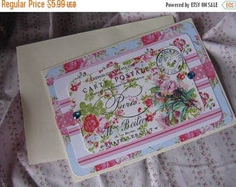 Antique French Label Inspired Card Floral Blank Greeting Gift Giving All Occasion Blue