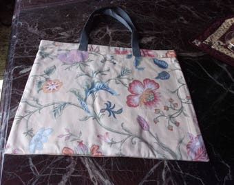 "REUSABLE MARKET BAG  XLrg 15.5"" x 18"" Designer Fabric, huge blooms on cream background affordable Eco-Friendly Gift"