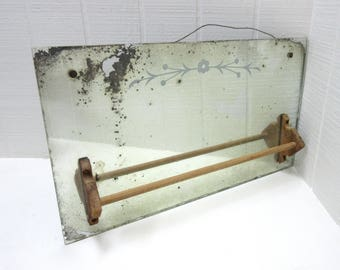 Vintage Shaving Mirror With Towel Bar Distressed Mirror
