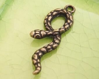 20 bronze silver snake serpent charms pendants Slytherin Harry Potter Draco Malfoy Severus Snape 34mm x 11mm - C0973-20