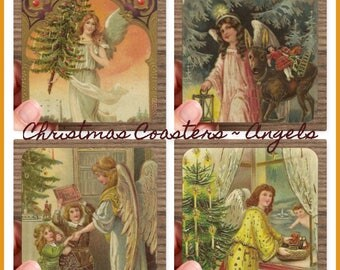 Set of 4 High Gloss Christmas ANGEL Coasters   – Cork Back in Storage Case – Vintage Inspired Holiday Decor