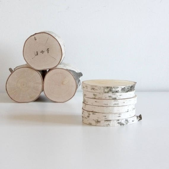 """Natural White Birch Wood Slices 3"""" - set of 6, diy projects, rustic wood slices, rustic wedding, wood craft, wood ornament"""