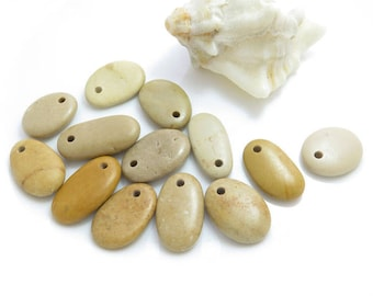 Top Drilled Beach Stones 13 pcs, Jewelry Supplies, Eco Friendly Beads, Beach Pebbles for Jewelry Making
