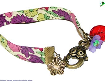 Liberty of london plum and fuchsia bracelet and charms ancient gold
