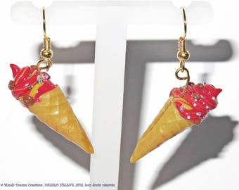 Earrings gluttony cherry ice cream and chocolate chips, fimo