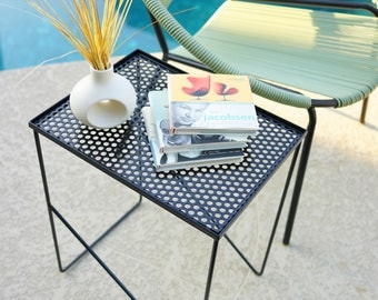 Modern Hairpin Patio Lounge Pool End Table Perforated Steel - Mid Century Weinberg Eames Atomic Era Vintage-Style