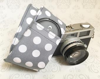 READY TO SHIP, dslr Camera Strap, 2 Lens Cap Pockets, Padded, Nikon or Canon Camera, Photographer Gift - Gray Dot