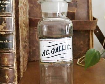 Antique Label Under Glass Apothecary Bottle