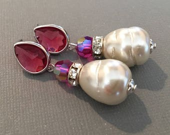 Fuchsia Earrings with Pearl with raspberry rhinestone pear shape and off white baroque pearl dangle wedding earrings mother if the bride
