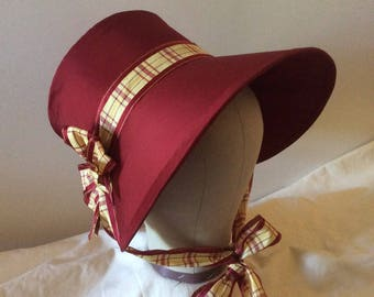 Regency SILK Bonnet. Jane Austen. Red SILK. Gold plaid ribbon.