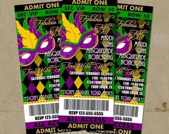 50 Mardi Gras Masquerade Party Ticket Style Invitations