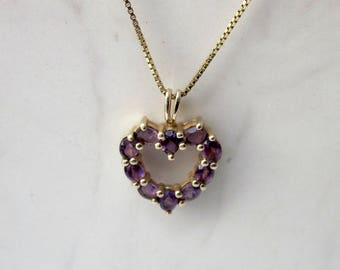 Vintage 10k Solid Yellow Gold Amethyst Heart Pendant and 21 Inch Gold BoxChain // Gold Necklace // Amethyst Necklace // Vintage Necklace //