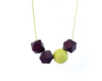 Hexagon necklace, wooden bead necklace, wooden necklace, asymmetric necklace, wood necklace, violet and lime yellow, minimal jewelry