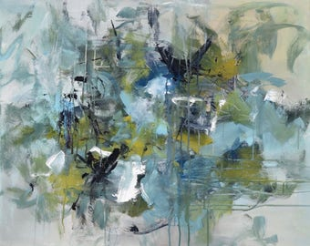 Abstract Painting Expressionism Large painting gestural painting Teal Aqua Blue gray  Summer Dreams 24x30