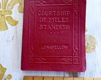 Antique Little Leather Small Book  Courtship Of Miles Standish Longfellow Classic Literature NY Little Leather Library Corporation 1921