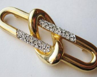 Vintage Courreges Gold Love Knot Rhinestone Designer Brooch Pin