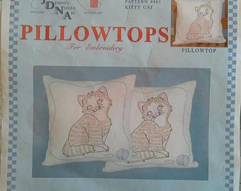 Two Stamped Embroidery Pillowtops to Cross Stitch Kitty Cat, Kitten Pillow Tops Jack Dempsey Needlle Art Item 663 Pattern 461