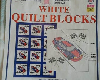 Race Car Quilt Blocks to Cross Stitch, Pack of 6, Jack Dempsey Needle Art, Embroidery Item 732 Pattern 277 Nascar