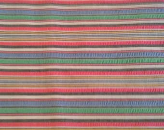 Colorful Striped Seersucker Fabric Cotton Polyester Blend 3 Yards X1161