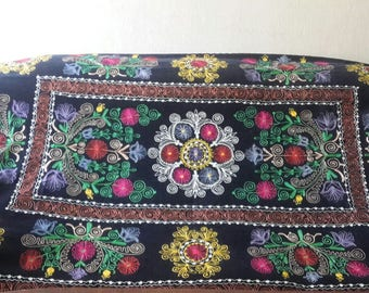 Vintage Uzbek silk embroidery on black velvet suzani. Bed cover, wall hanging, home decor suzani. SWN001