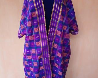 Pure silk kaftan. Violet kaftan, silk cardigan, silk robe, bohemian kaftan, tribal coat