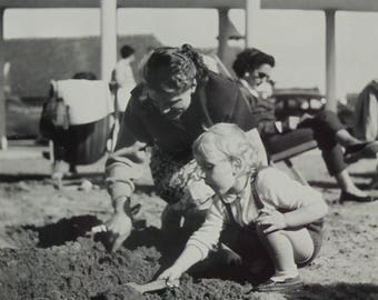 Vintage Summer Photo - Woman & Child Digging in Sand on a Beach
