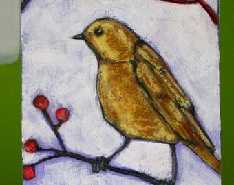 yellow bird on autumn branch original a2n2koon mixed media bird painting on reclaimed wood little bird wall art berries autumn leaves bird