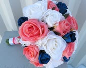 Rose Wedding bouquet - Coral navy blue and white silk bridal bouquet