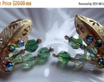 ANNIVERSARY SALE Rhinestone and Green Bead Earrings
