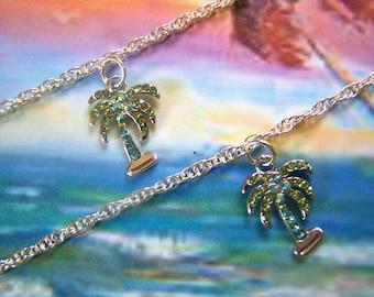 Anklet Palm Tree Crystal Pave Ankle Bracelet