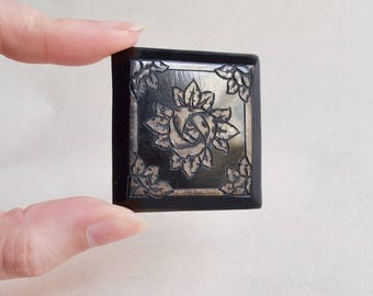 1930s Black carved rose celluloid brooch / 30s French faux jet mourning plaque brooch