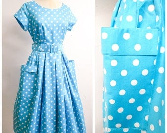 1950s 60s Turquoise white polka dot cotton big pocket day dress / 1960s 50s blue spotty full skirt pleated summer dress - M