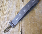 Wristlet Keyfob / Fabric Keychain / Wrist Key Fob with swivel clasp -  grey gray arrow fabric