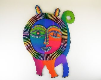 Cheshire Critter Polymer Clay Wall Art or Clock in Crazy Stripe Black and Rainbow