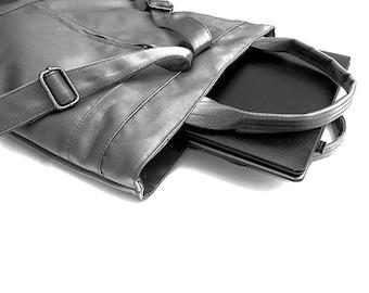 Black vegan leather rucksack, Eco Leather backpack, Convertible laptop Backpack, women laptop backpack, travel backpack, black rucksack bag