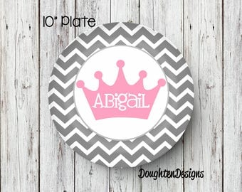 Personalized Melamine Plate, Princess Plate, personalized kids plate, Girl plate, 1st birthday plate, Princess crown plate, Melamine Plate