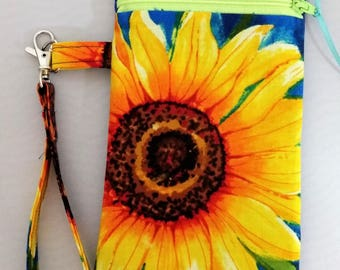 Cell Phone Pouch Wristlet Pouch Mobile Phone Pouch Sunflower Fabric Case Wrist Strap Zipper Closure Gift for Her