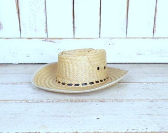 Vintage tan brown woven straw rancher cowboy hat/gardening farming hat/straw sun hat